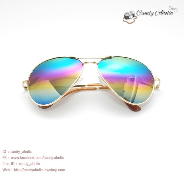 แว่นตากันแดดแฟชั่น สีเหลืองน้ำเงิน (ปีกแมลงทับ) ปรอท