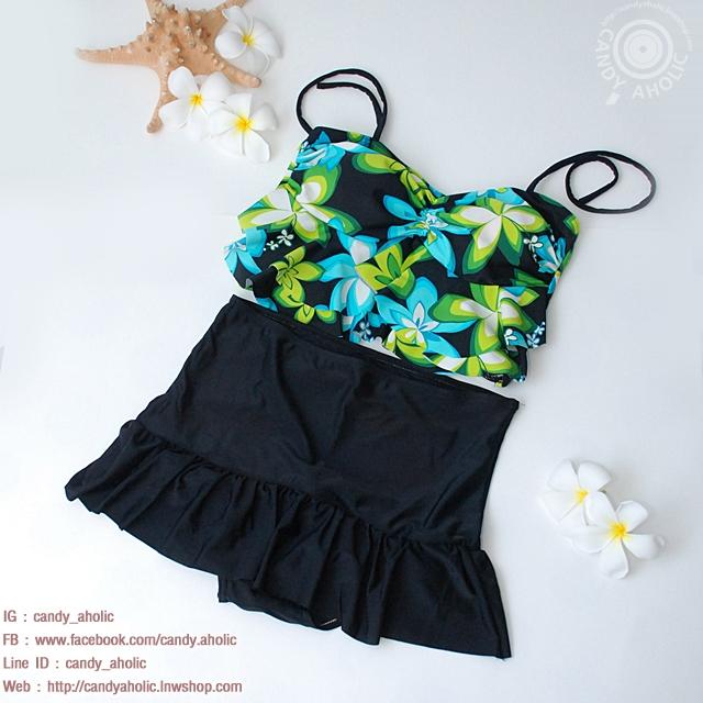 (XXL) ชุดว่ายน้ำลายดอก กราฟฟิคสีสรรสดใสช่วยพรางหุ่น ทรงจีบอก สายผูก สองสีให้เลือก