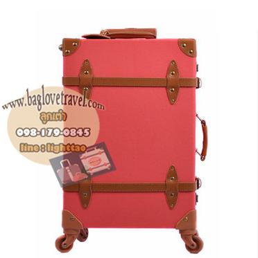 กระเป๋าเดินทางล้อลากวินเทจ รุ่น vintage retro สี แดง เซ็ตคู่ ขนาด 12+24 นิ้ว