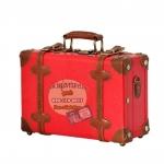 กระเป๋าเดินทางวินเทจ รุ่น retro brown แดงเข้มคาดน้ำตาล ขนาด 12 นิ้ว