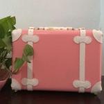 กระเป๋าเดินทางวินเทจ รุ่น spring colorful ชมพูคาดขาว ขนาด 12 นิ้ว