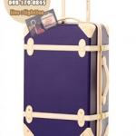 กระเป๋าเดินทางวินเทจ รุ่น colorful น้ำเงินเข้มคาดชมพูอ่อน ขนาด 18 นิ้ว