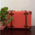 กระเป๋าเดินทางวินเทจ รุ่น spring colorful ชมพูเชอร์เบทคาดน้ำตาล ขนาด 12 นิ้ว
