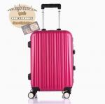 กระเป๋าเดินทางไฟเบอร์ รุ่น Aluminium ชมพูเข้ม ขนาด 20 นิ้ว