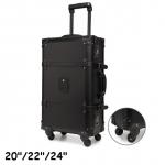 กระเป๋าเดินทางวินเทจ หนังPU สีดำ รุ่น classic แบบ 4 ล้อลาก