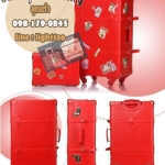 กระเป๋าเดินทางวินเทจ รุ่น spring colorful แดงคาดแดงล้วน ขนาด 20 นิ้ว