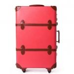 กระเป๋าเดินทางวินเทจ รุ่น spring colorful ชมพูเชอร์เบทคาดน้ำตาล ขนาด 20 นิ้ว