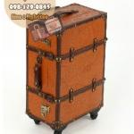 กระเป๋าเดินทางวินเทจ รุ่น vintage classic น้ำตาลส้มคาดน้ำตาล ขนาด 20 นิ้ว