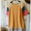 เสื้อยืดตัวยาว เนื้อผ้ายืดบางนิ่ม แต่งสลับสีผ้าที่แขนเสื้อ**สีเหลือง** thumbnail 7