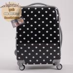 """กระเป๋าเดินทางไฟเบอร์ PC+ABS Lovely Polka dot สีดำ ลายจุดขาว (ไซต์ 18"""")"""