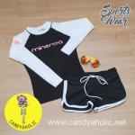 [Size S] ชุดว่ายน้ำ แขนยาว รุ่น Minerva (สีดำแขนสีขาว) และ ขาสั้น