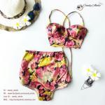 Size S ชุดว่ายน้ำทูพีช บราถักหลังลายดอกกุลาบแดง ผ้ามันเงา กางเกงเอวสูง