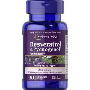 Puritan s Pride Resveratrol 100 mg & Pycnogenol® 30 mg / 30 Softgels