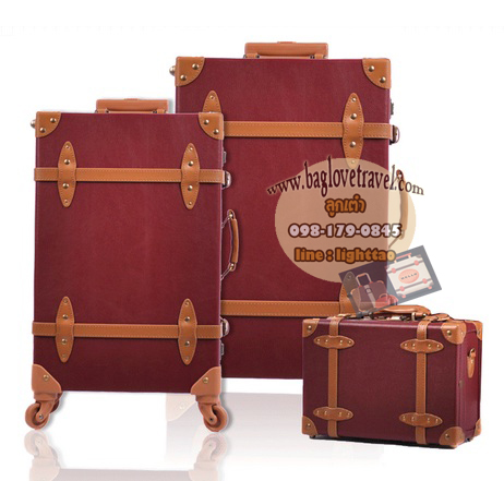 กระเป๋าเดินทางล้อลากวินเทจ รุ่น vintage retro สีช็อกโกแลต เซ็ตคู่ ขนาด 12+22 นิ้ว