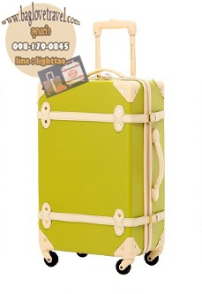 กระเป๋าเดินทางวินเทจ รุ่น colorful เขียวมะนาวคาดชมพูอ่อน ขนาด 22 นิ้ว