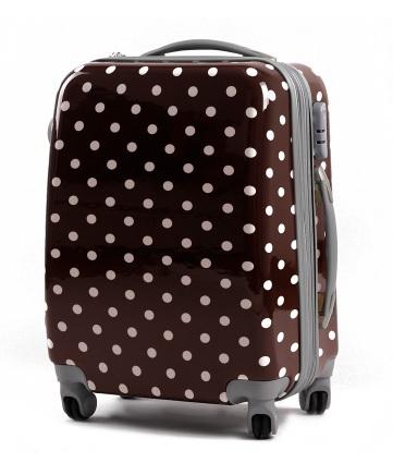 กระเป๋าเดินทางไฟเบอร์ รุ่น ลายจุด น้ำตาลลายจุดขาว ขนาด 22 นิ้ว