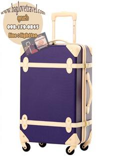 กระเป๋าเดินทางวินเทจ รุ่น colorful น้ำเงินเข้มคาดชมพูอ่อน ขนาด 20 นิ้ว