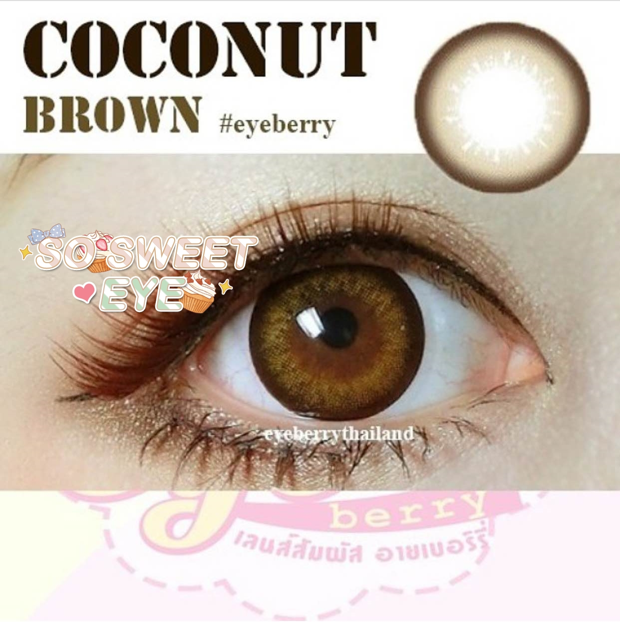 สายตาสั้น/POWER -475 PCOCONUT BROWN EYEBERRYLENS