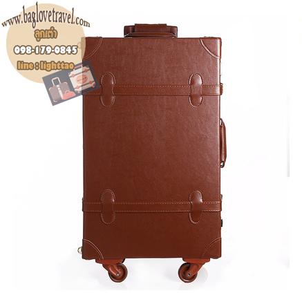 กระเป๋าเดินทางวินเทจ รุ่น retro brown น้ำตาลคาดน้ำตาล ขนาด 22 นิ้ว