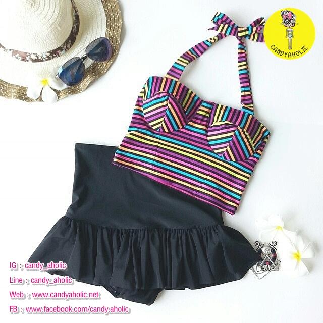 (free size) ชุดว่ายน้ำ ทูพีช ลายขวางหลากสี บราเป็นแบบสวมเต็มตัวไม่โป้ กระโปรงดำ