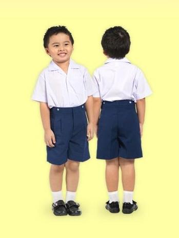 กางเกงนักเรียนอนุบาล ตราสมอ เอวยางหลัง ซิปหน้า (ผ้าโทเร)