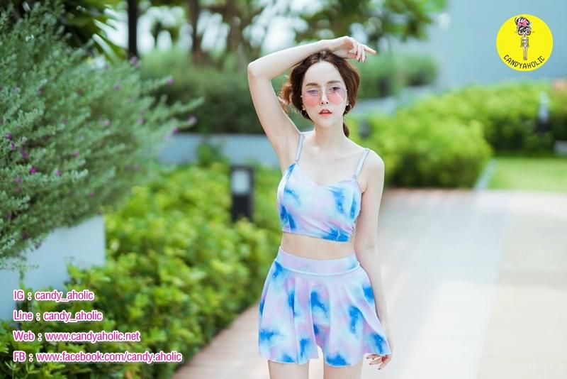 [Free size] ชุดว่ายน้ำทูพีชสายเดี่ยว รุ่น My Dear สีกาแลกซี่