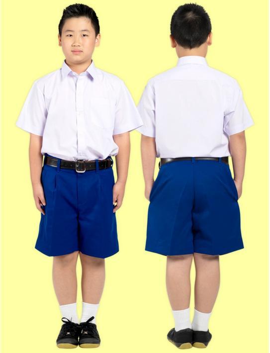 กางเกงนักเรียน ตราสมอ สีน้ำเงิน (ผ้าเสิท)