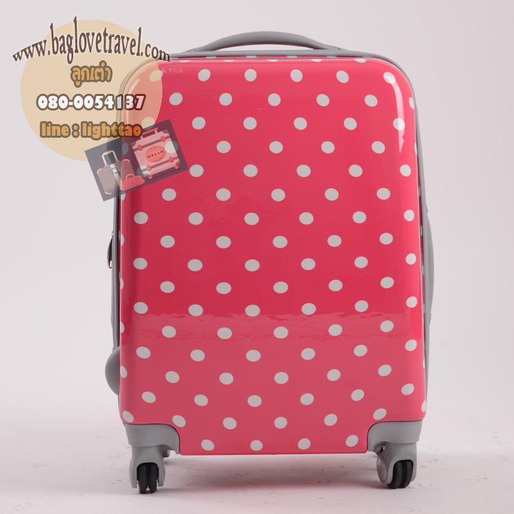 """กระเป๋าเดินทางไฟเบอร์ PC+ABS Lovely Polka dot สีชมพูเข้มลายจุดขาว (ไซต์ 18"""",22"""",26"""")"""