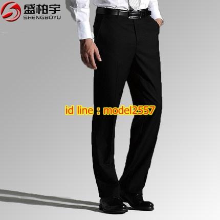 K6105002 กางเกงพนักงานโรงแรมผู้ชายสีดำ กางเกงทำงานผู้ชายสีดำ