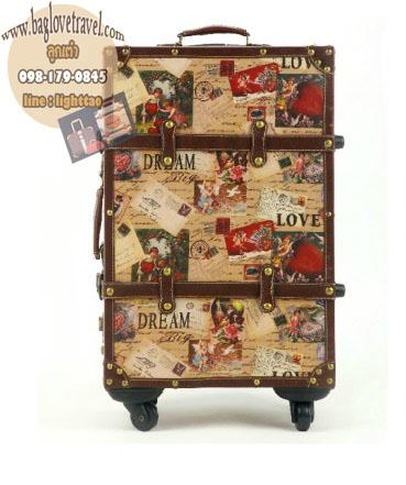 กระเป๋าเดินทางวินเทจ รุ่น vintage classic ลายซองจดหมาย ขนาด 22 นิ้ว