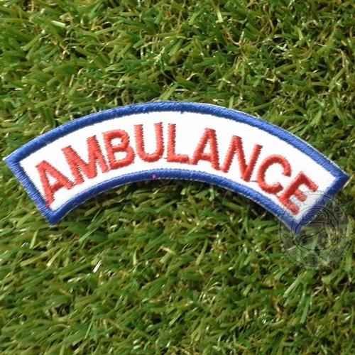 อาร์ม AMBULANCE (โค้งคว่ำ) ขอบน้ำเงิน ตัวอักษรแดง