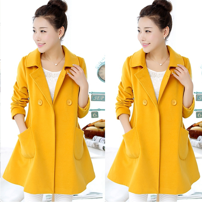 CW6011010 เสื้อโค้ทเกาหลีตัวยาวผ้าผสมขนสัตว์ฤดูใบไม้ร่วงและฤดูหนาว