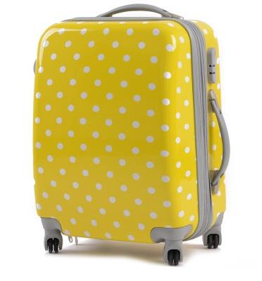 กระเป๋าเดินทางไฟเบอร์ รุ่น ลายจุด เหลืองลายจุดขาวขนาด 22 นิ้ว