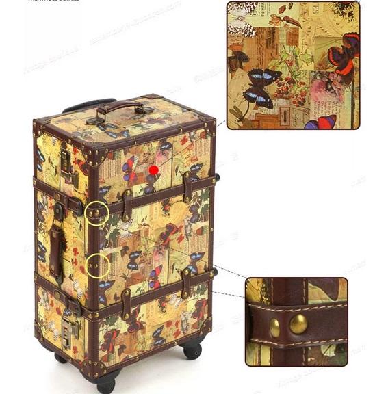 กระเป๋าเดินทางวินเทจ รุ่น vintage classic ลายผีเสื้อ ขนาด 24 นิ้ว