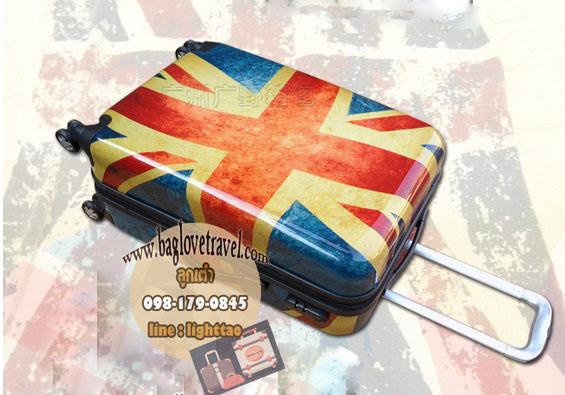 กระเป๋าเดินทางแฟชั่น แนวๆ ลายธงชาติอังกฤษ ขนาด 28 นิ้ว