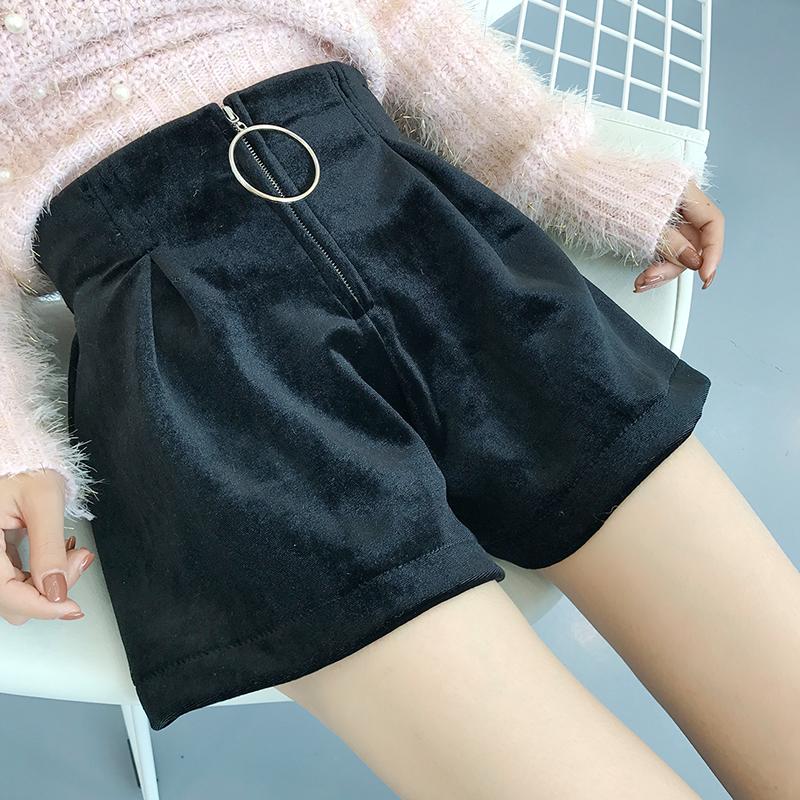 ๋ํ๋JN6104001 กางเกงขาสั้นสีดำฤดูใบไม้ร่วงเอวสูง
