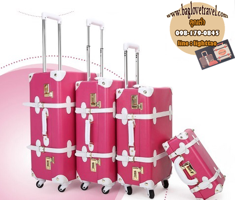 กระเป๋าเดินทางวินเทจ รุ่น spring colorful ชมพูเข้มคาดขาว ขนาด 24 นิ้ว