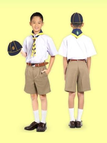 กางเกงนักเรียน / กางเกงลูกเสือ สีกากี ตราสมอ (ผ้าโทเร)