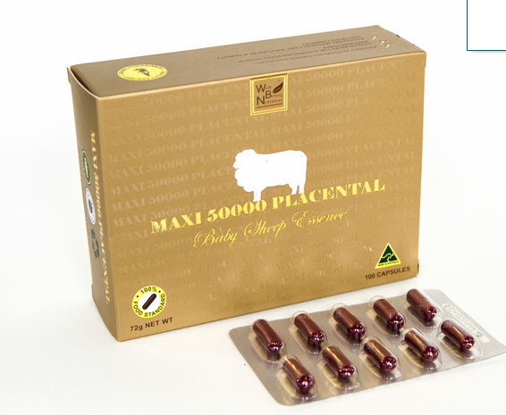 Maxi 50000 Placental รกแกะแม็กซี่ 50,000 มิลลิกรัม (100เม็ด)