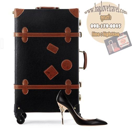 กระเป๋าเดินทางวินเทจ รุ่น retro brown ดำคาดน้ำตาล ขนาด 24 นิ้ว