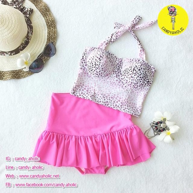 (free size) ชุดว่ายน้ำ ทูพีช ลายเสือดาวสีชมพู บราเป็นแบบสวมเต็มตัวไม่โป้ กระโปรงสีดำ