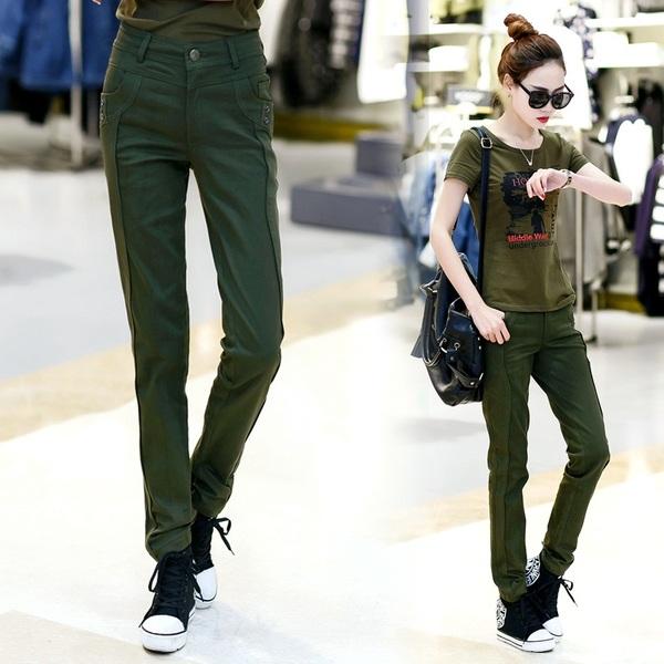 HW5906008 กางเกงทหารหญิงทรงหลวมสีเขียวกองทัพ (พรีออเดอร์) รอ 3 อาทิตย์หลังโอนเงิน