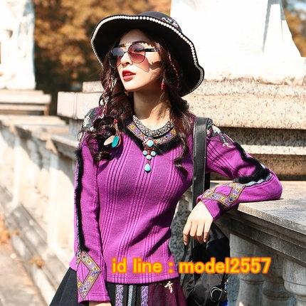 UM6102011 เสื้อยืดแขนยาวโมฮีเมียนสีม่วง เย็บปักถักร้อยชาติพันธุ์