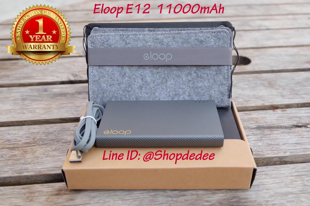 Eloop E12 Power bank แบตสำรอง 11000 mAh สีดำ ของแท้ 100%