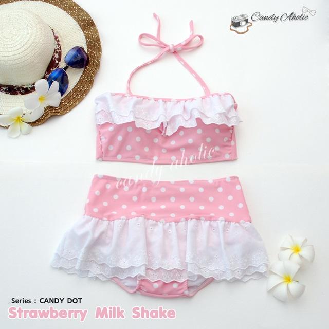 (free size) ชุดว่ายน้ำ ทูพีช มีระบายลูกไม้น่ารัก สีชมพูลายจุด ผูกหลัง กระโปรงชมพู ลายจุด บิกินี่ -Strawberry-Milk-Shake
