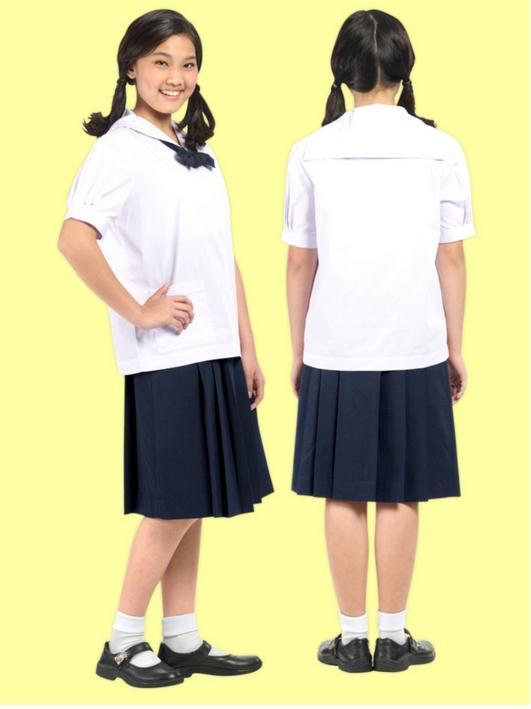 กระโปรงนักเรียน ตราช้างแมมมอธ 6 จีบสีกรมท่า (กรมเข้ม)