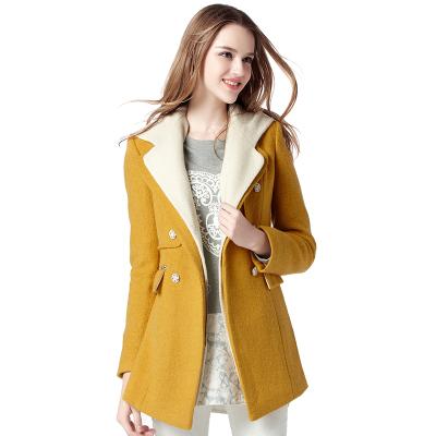 CW6010007 เสื้อโค้ทเสื้อคลุมกันหนาวเกาหลีฤดูหนาวสีเหลืองแขนยาว(พรีออเดอร์)