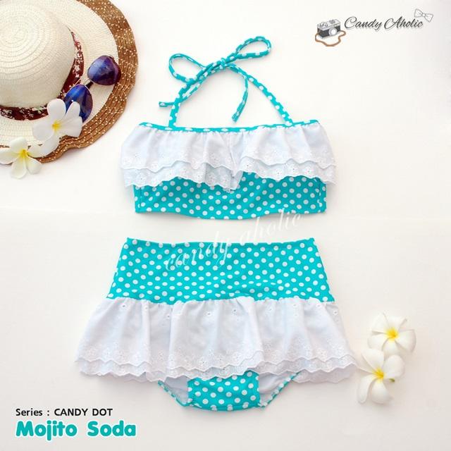 (free size) ชุดว่ายน้ำ ทูพีช มีระบายลูกไม้น่ารัก สีเขียวอมฟ้าลายจุด ผูกหลัง กระโปรงเขียวอมฟ้า ลายจุด บิกินี่-Mojito-Soda
