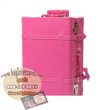 กระเป๋าเดินทางวินเทจ รุ่น vintage retro ชมพูเข้ม เซ็ตคู่ ขนาด 12+26 นิ้ว