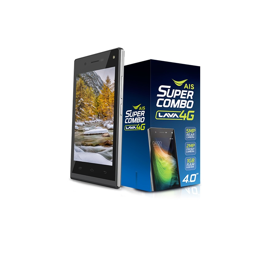 "AIS Lava 550 4G ไม่ล็อคซิม 4.0"" Quad-Core 8GB (สีดำ) ฟรี EMSเก็บเงินปลายทาง"
